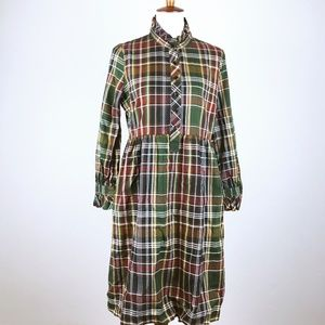 J Crew Plaid Long Sleeve Midi Dress Ruffle Trim